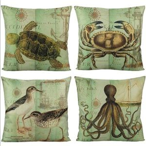 Coastal Nautical Pillow Covers Ocean Octopus